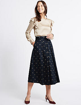 Cotton Rich Printed A-Line Midi Skirt
