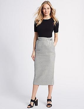 Cotton Rich Textured Pencil Midi Skirt , IVORY MIX, catlanding