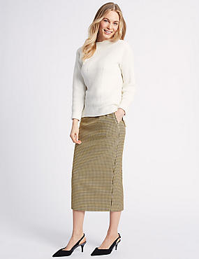 Cotton Blend Textured Pencil Midi Skirt