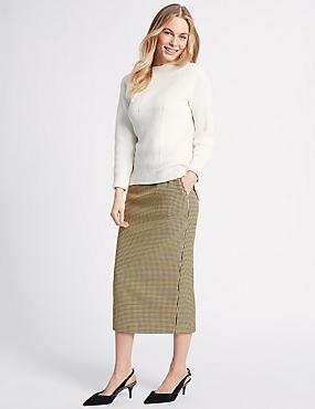 Cotton Blend Textured Pencil Midi Skirt , YELLOW MIX, catlanding