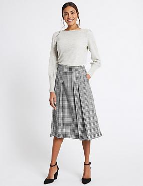 Pleated Check A-Line Midi Skirt, BLACK MIX, catlanding