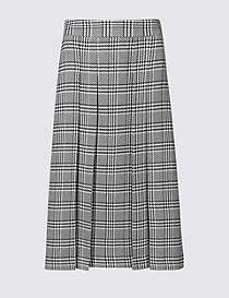 Pleated Check A-Line Midi Skirt