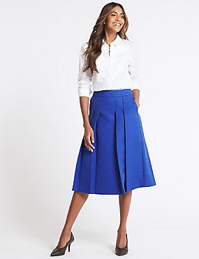 Textured A-Line Midi Skirt , ROYAL BLUE, catlanding