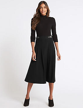Pleated A-Line Midi Skirt , BLACK, catlanding