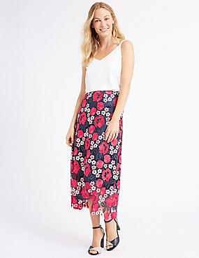 Lace A-Line Midi Skirt , PINK MIX, catlanding