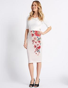 Floral Print Pencil Skirt, BLACK MIX, catlanding