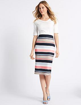 Striped Pencil Midi Skirt , NAVY MIX, catlanding