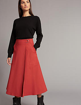 Cotton Blend Wrap A-Line Midi Skirt