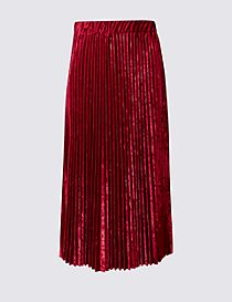Velvet Pleated A-Line Midi Skirt