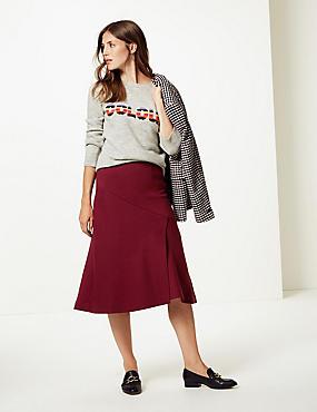 Midi Skirt , BURGUNDY, catlanding