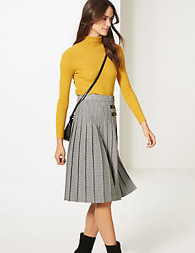 Checked Pleated Midi Skirt , BLACK MIX, catlanding