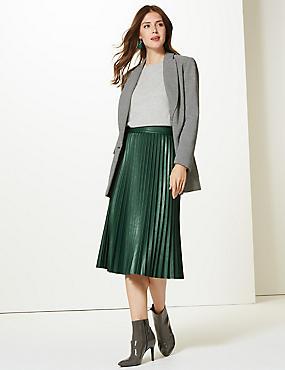 Faux Leather Pleated Midi Skirt, DARK GREEN, catlanding