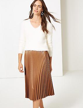 Faux Leather Pleated Midi Skirt, DARK TAN, catlanding