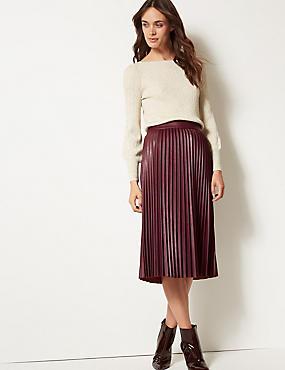 Faux Leather Pleated Midi Skirt, DARK CLARET, catlanding