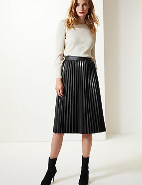 Faux Leather Pleated Midi Skirt, BLACK, catlanding
