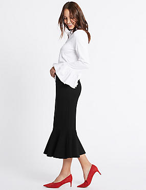 Fishtail Pencil Midi Skirt