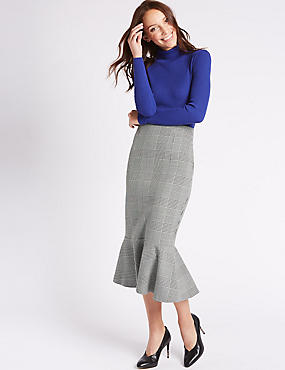 Checked Fishtail A-Line Midi Skirt