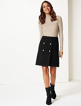 Textured Mini Skirt , BLACK, catlanding