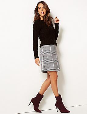 Checked Zipped Through Mini Skirt , IVORY MIX, catlanding