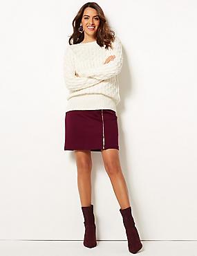 Ponte Zipped Through Mini Skirt, BERRY, catlanding