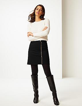 Ponte Zipped Through Mini Skirt, BLACK, catlanding
