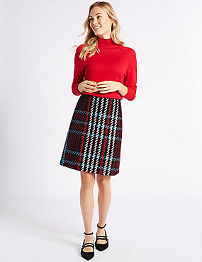 Checked A-Line Mini Skirt