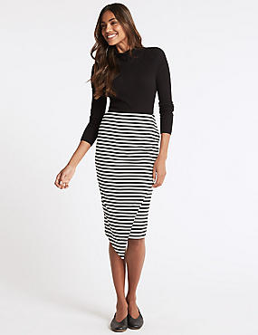 Striped Asymmetric Wrap Pencil Midi Skirt