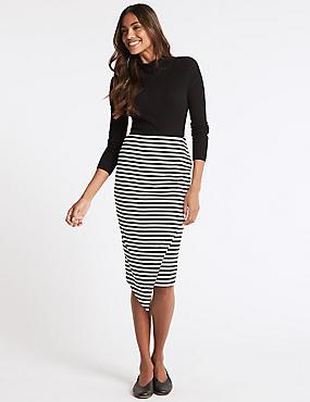 Striped Asymmetric Wrap Pencil Midi Skirt, BLACK MIX, catlanding