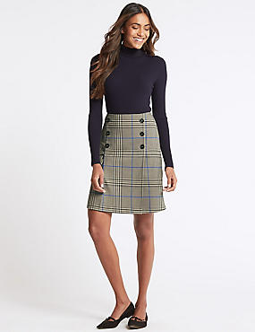 Checked Button Front A-Line Mini Skirt