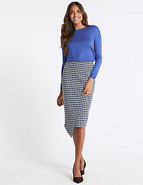 Jacquard Asymmetric Wrap Pencil Skirt
