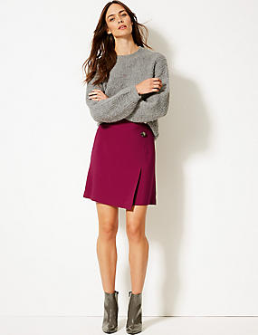 Button Detail Wrap Mini Skirt, DARK MAGENTA, catlanding