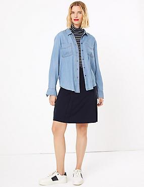 Button Front A-Line Mini Skirt, NAVY, catlanding