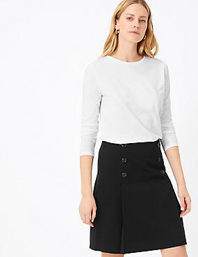 Button Front A-Line Mini Skirt, BLACK, catlanding