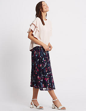 Printed Lace A-Line Midi Skirt