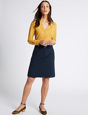 Cotton Blend Buckle Detail A-Line Mini Skirt