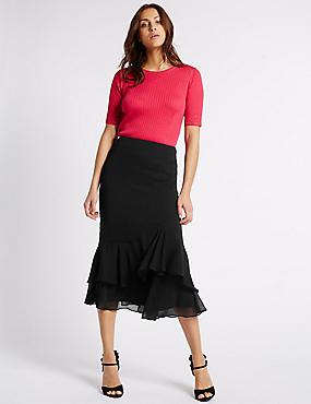 crepe ruffle a line midi skirt