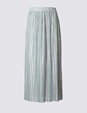 Plisse Pleated Maxi Skirt