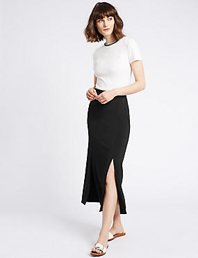 Split Front Pencil Midi Skirt