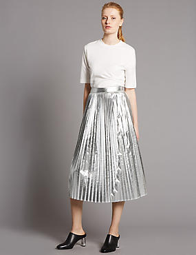 Metallic Pleated A-Line Midi Skirt
