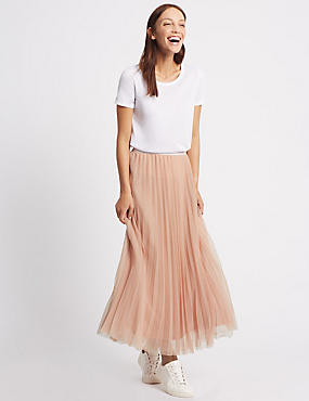 Tiered Mesh A-Line Maxi Skirt