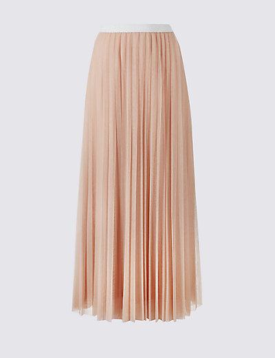 tiered mesh aline maxi skirt mamps