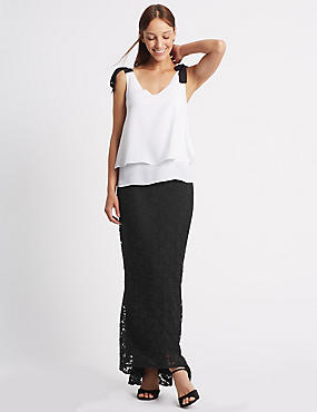 Fishtail Floral Lace Pencil Maxi Skirt