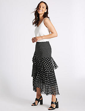 Spotted Ruffle Maxi Skirt