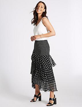 Spotted Ruffle Maxi Skirt  , BLACK MIX, catlanding