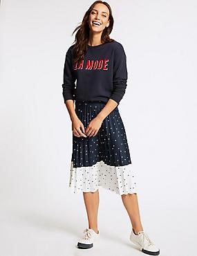 Spotted Pleated Midi Skirt , DARK NAVY MIX, catlanding