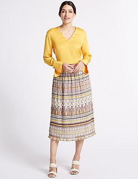 Printed A-Line Midi Skirt , IVORY MIX, catlanding