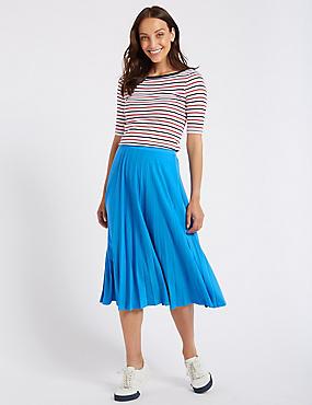 Jersey Pleated Midi Skirt , BLUE, catlanding