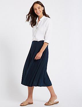 Jersey Pleated Midi Skirt , NAVY, catlanding