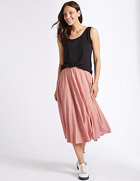 Jersey Pleated Midi Skirt , ROSE PINK, catlanding