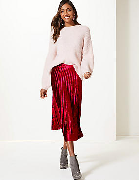 Velvet Pleated Midi Skirt, RED, catlanding
